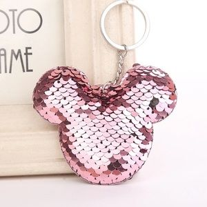 Accessories - Mikey purse charm keychain light pink sequins NEW